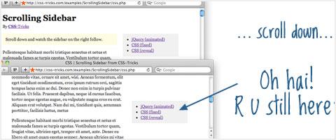 افزایش کاربردپذیری سایت- Scroll/Follow Sidebar