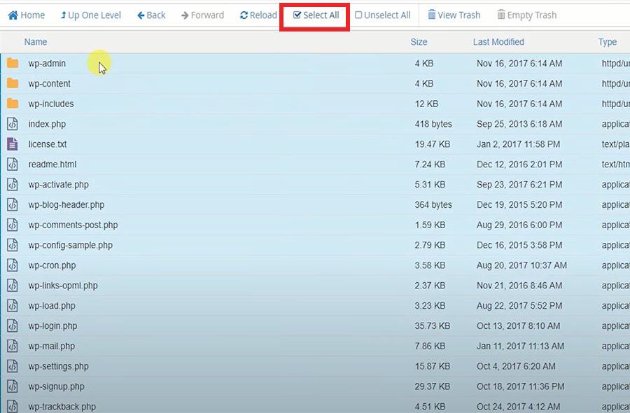 انتقال فایل های وردپرس در هاست cpanel